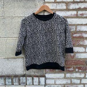 Black & White Half-Sleeve Top (Vintage-Style)
